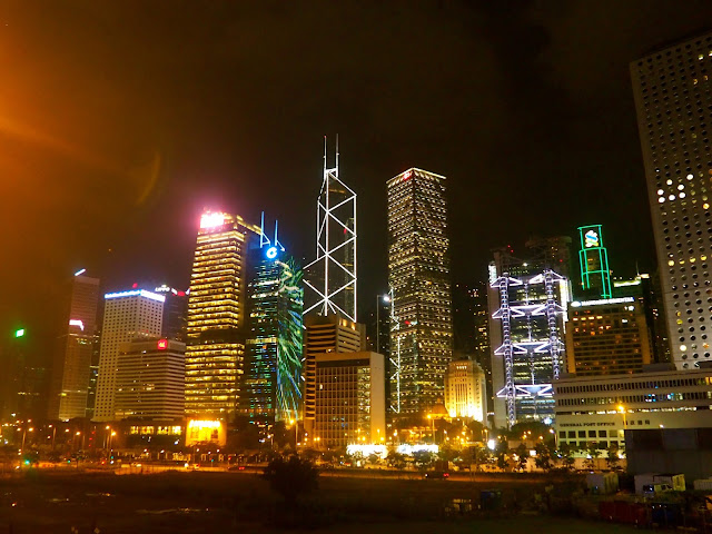 Central & Admiralty skyscrapers at night, Hong Kong