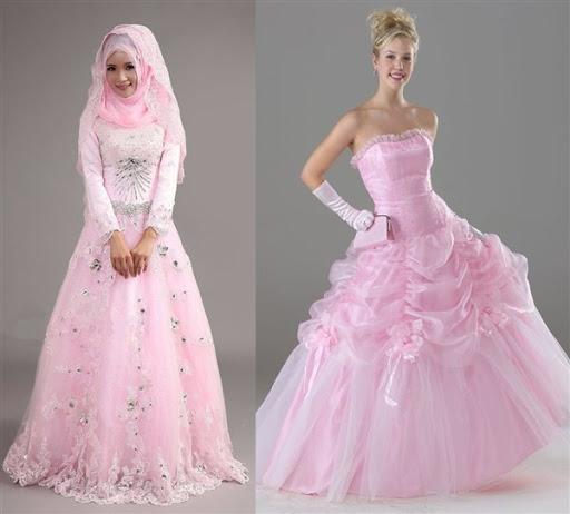 gaun pengantin warna pink