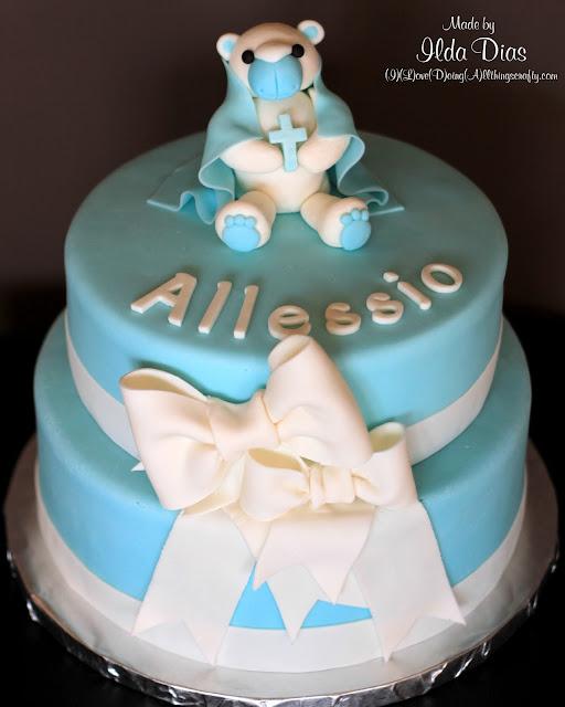 Teddy Bear Baptism Cake