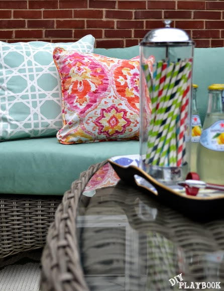 colorful patio pillows