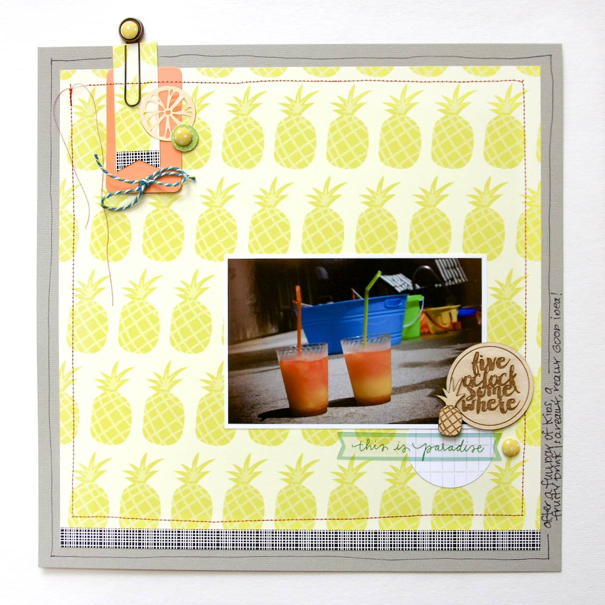 #pineapple #scrapbooking #layout #summer #pool #paradise
