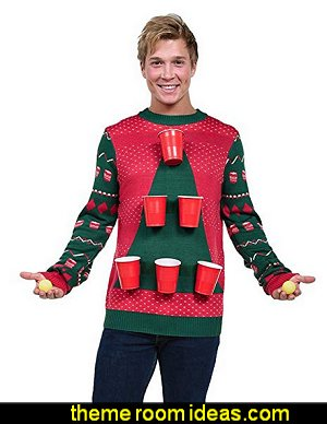 Men's Beer Pong Game Christmas Sweater - Funny Ugly Christmas Sweater