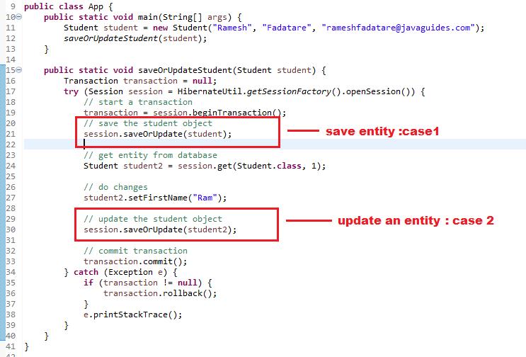 Hibernate 5 - saveOrUpdate() Method Example