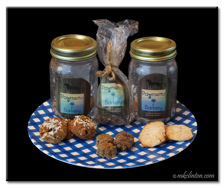 Pawmetto Barkery handmade dog treats in mason jars on a blue checked plate