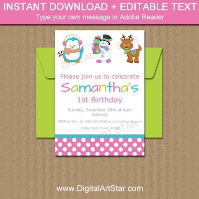 Christmas Birthday Invitations