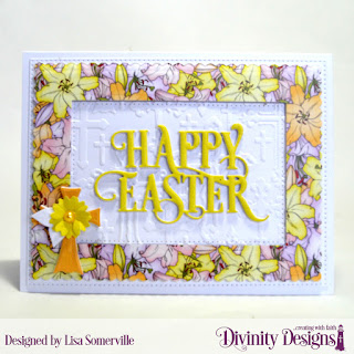 Divinity Designs Embossing Folder/Die Duo: Cross, Custom Dies: Bitty Blossoms, Happy Easter Caps, Pierced Rectangles, Scalloped Rectangles, Paper Collection: Spring 2019