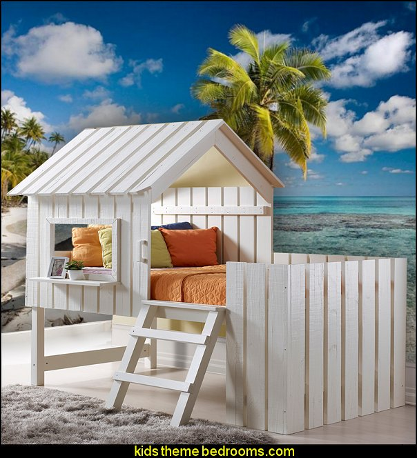 Cabana Twin Low Loft Bed beach theme bedrooms - surfer girls - surfer boys - coastal living style - surfing themed bedroom decorating ideas - beach bedrooms - raffia valance window ideas - 3d wall decorations