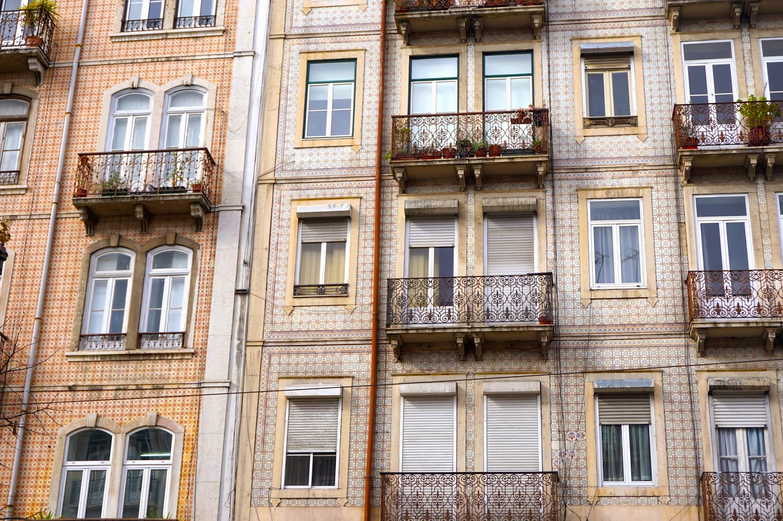 The colourful painted and tiled walls of Lisbon's buildings