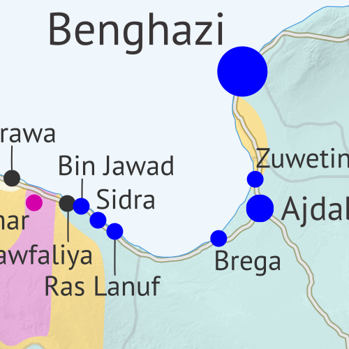 Libya control map: Shows detailed territorial control in Libya's civil war as of September 2017, including all major parties (Government of National Accord (GNA); Tobruk House of Representatives, General Haftar's Libyan National Army (LNA), and allies; Tuareg and Toubou (Tebu) militias in the south; the so-called Islamic State (ISIS/ISIL); and other groups such as the National Salvation Government(NSG) and hardline religious groups). Now includes terrain and major roads. Colorblind accessible.