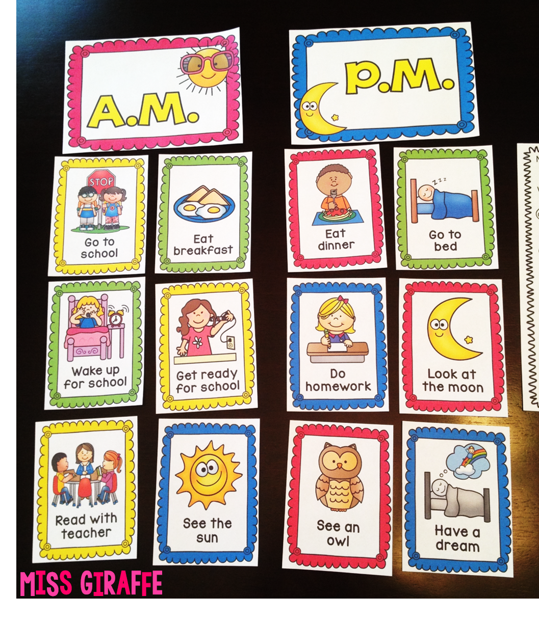 Telling time games and activities A.M. or P.M. activities sort to practice day and night