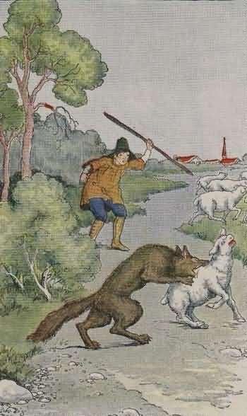 Dongeng Anak Dunia Gembala Serigala Aesop Penduduk Desa Mendengar Teriakan