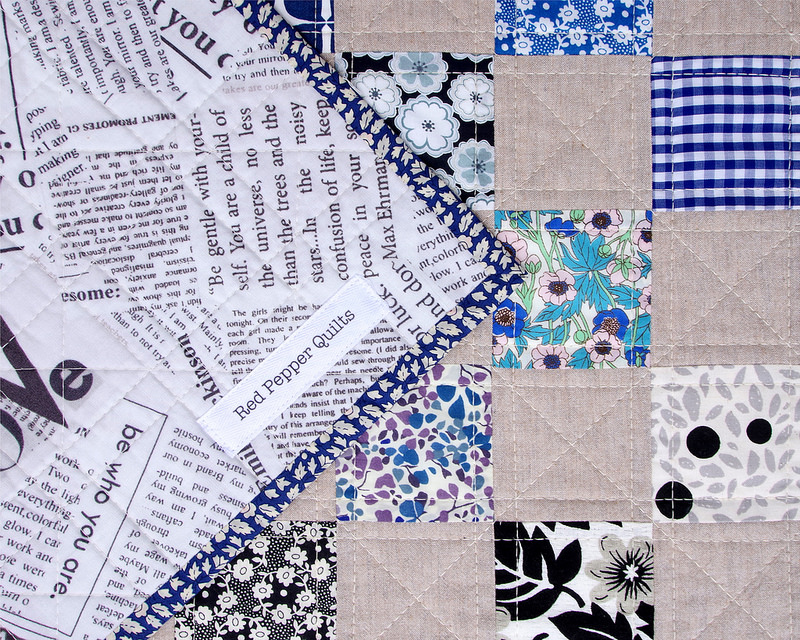 Liberty Tana Lawn and Chambray Checkerboard Quilt - The Blues | © Red Pepper Quilts 2018 #redpepperquilts #checkerboardquilt #patchworkquilt #quilt