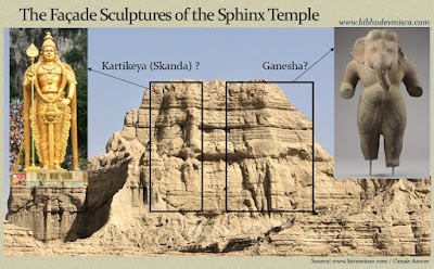 The facade carvings on the Balochistan Sphinx-Temple could be that of Kartikeya and Ganesha