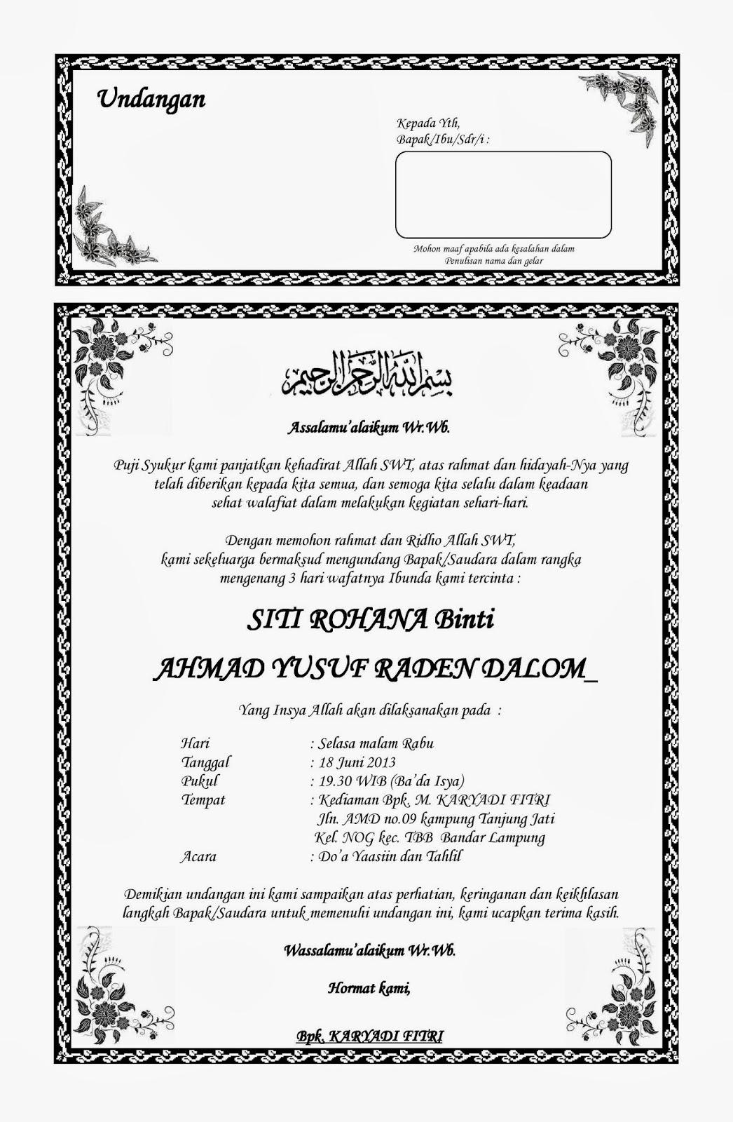 Contoh Undangan Untuk Acara 7 Bulanan - Contoh Isi Undangan
