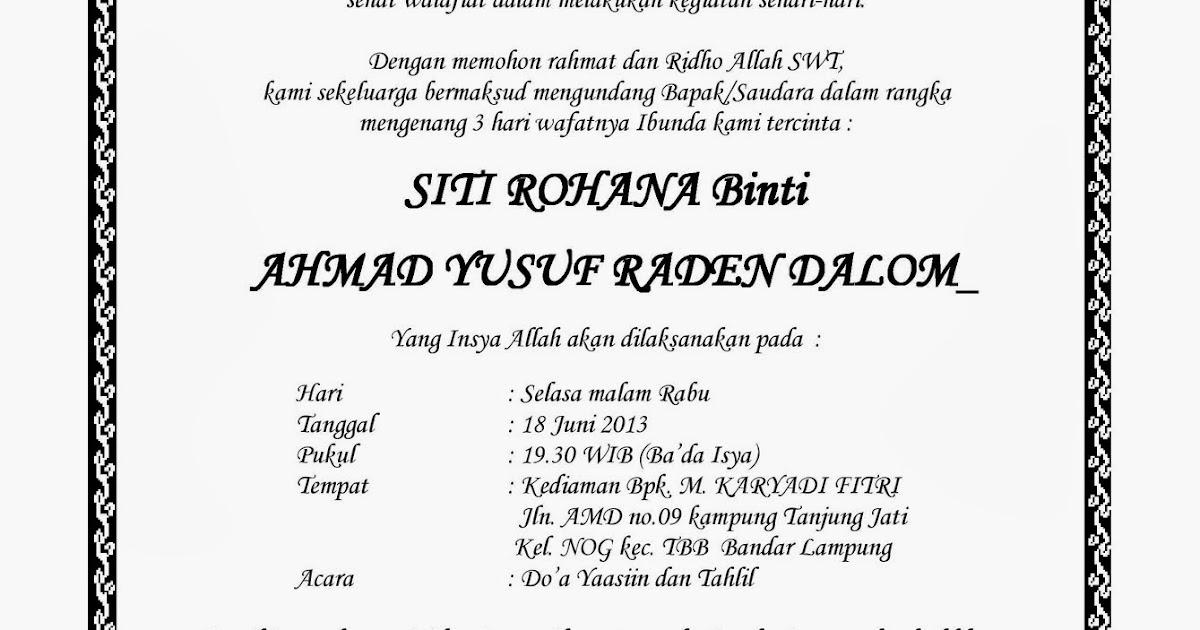 Contoh Surat Undangan Tahlil - Murad Maulana