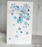 Kartenwind : Weihnachtskarte mit Schneeflocken #lawnfawn #diecutting #watercolor #klartext #danipeuss #kartenwind #christmas
