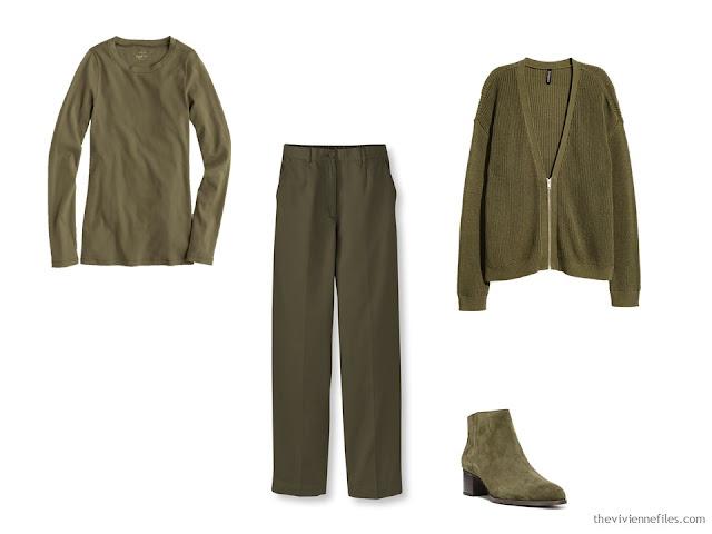Olive green foundation capsule wardrobe