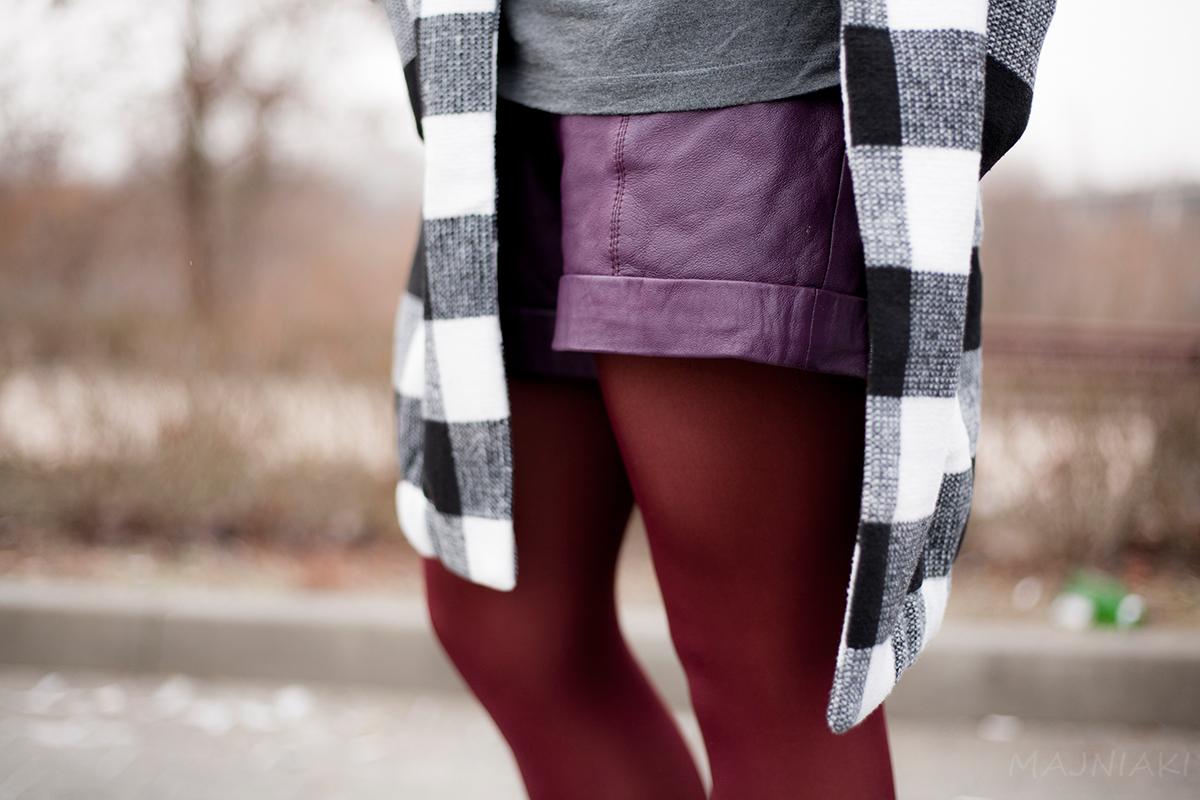 Plum Leather Shorts