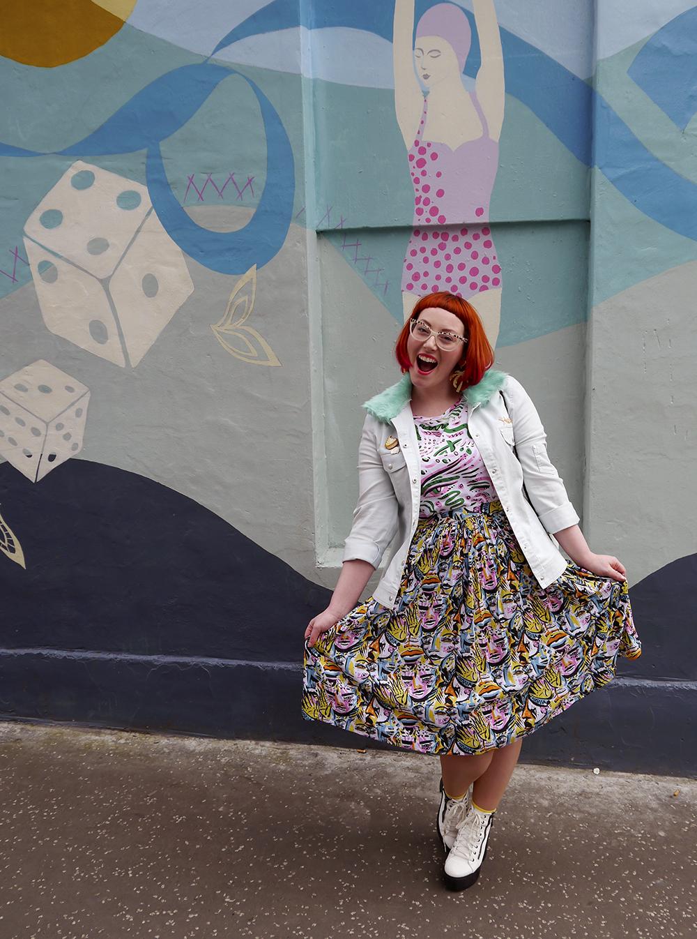 Styled by Helen, Wardrobe Conversations, Scottish Blogger, Edinburgh Blogger, Dundee Blogger, red head, ginger bob, Spex Pistols glasses, leopard print glasses, customised denim jacket, mint fur collar, Monki prints, Monki tshirt, Monki x Lynnie Zulu, Lynnie Zulu for Monki, River Island white lace up shoes, Rockcakes brooch, Rock Cakes pin badges, personalised denim jacket, Lucky Dip pins, milkshake with sprinkles, Roller Shakes, Blog Birthday, Style Diner, Kate George Mural Edinburgh, wall art Edinburgh, Edinburgh South side, Lou Taylor, tropical earrings, skinny dip london milk bag, novelty bag, milk bag