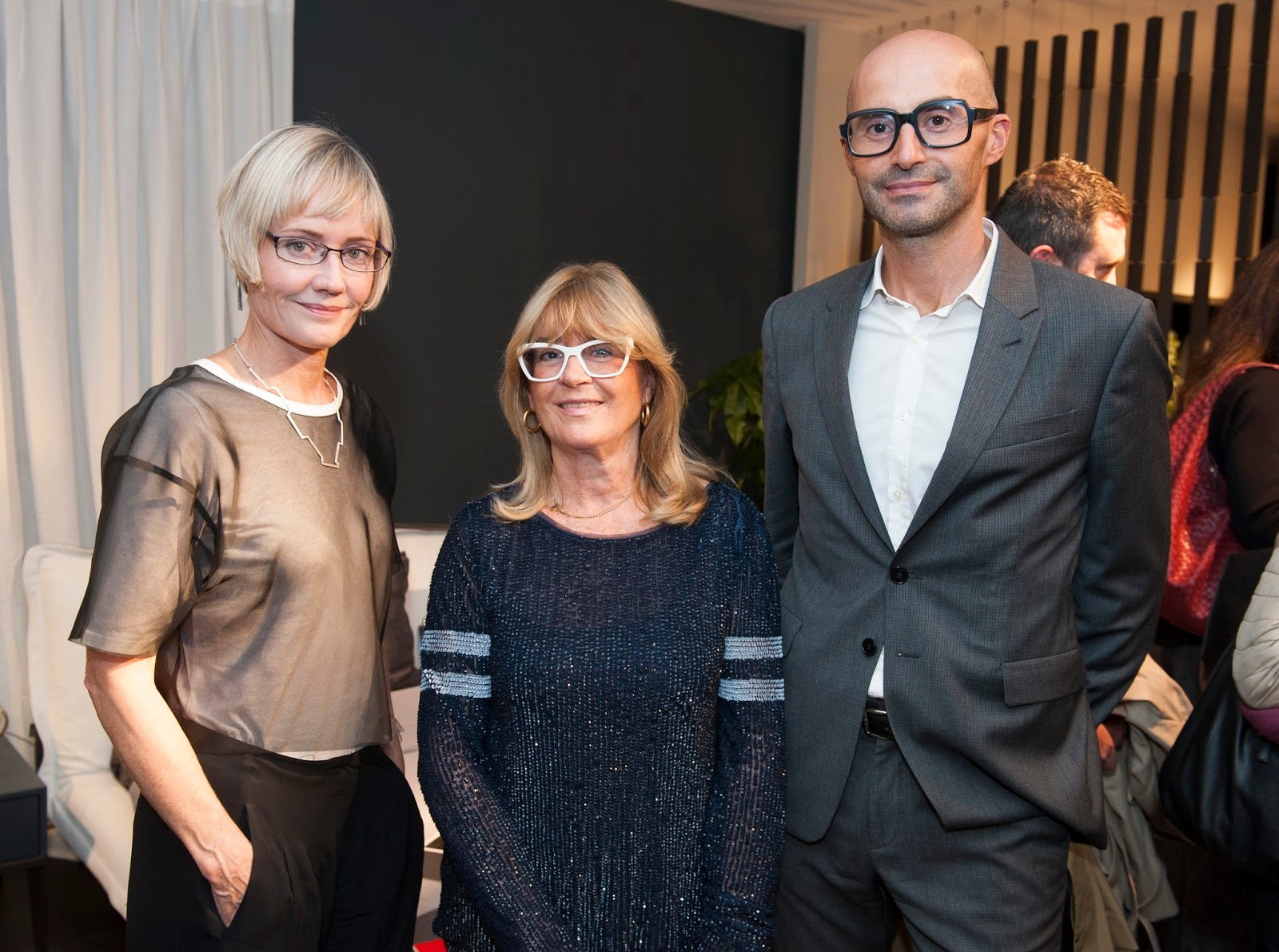 Alison Brooks with Gilda Bojardi and Michelangelo Giombini of INTERNI, Alison Brooks for Interni Aperitivos, London design festival