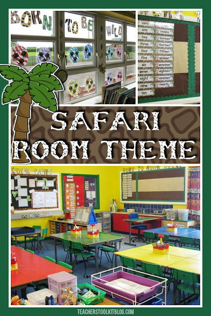 elementary classroom photos which show a safari room theme.