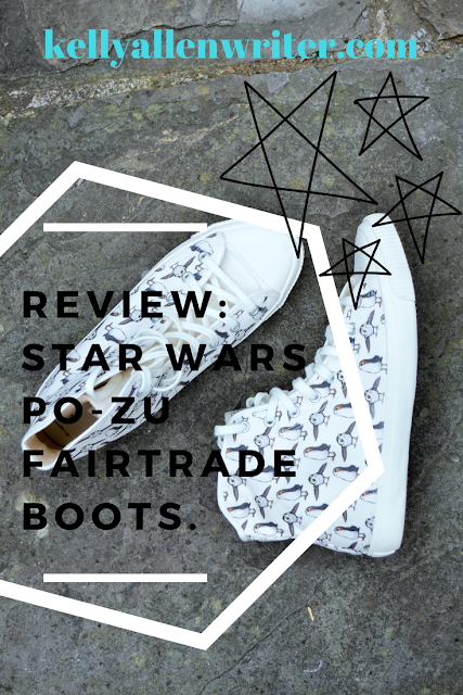 Photo of boots with title and stars.