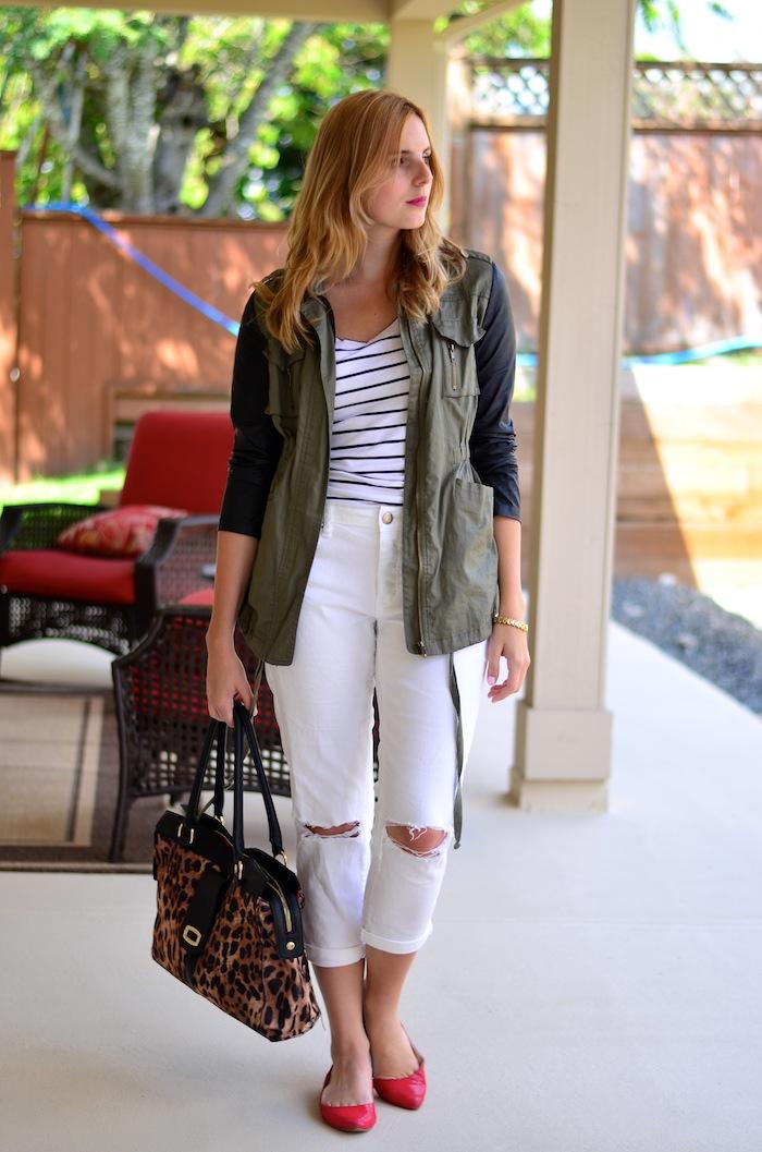 LuLu*s Leather Sleeved Safari Jacket