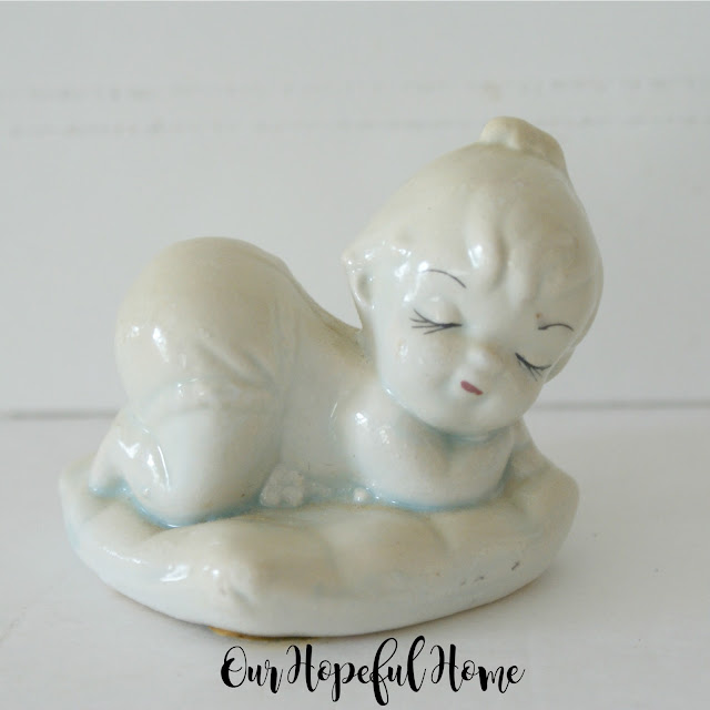 vintage sleeping baby girl porcelain figurine