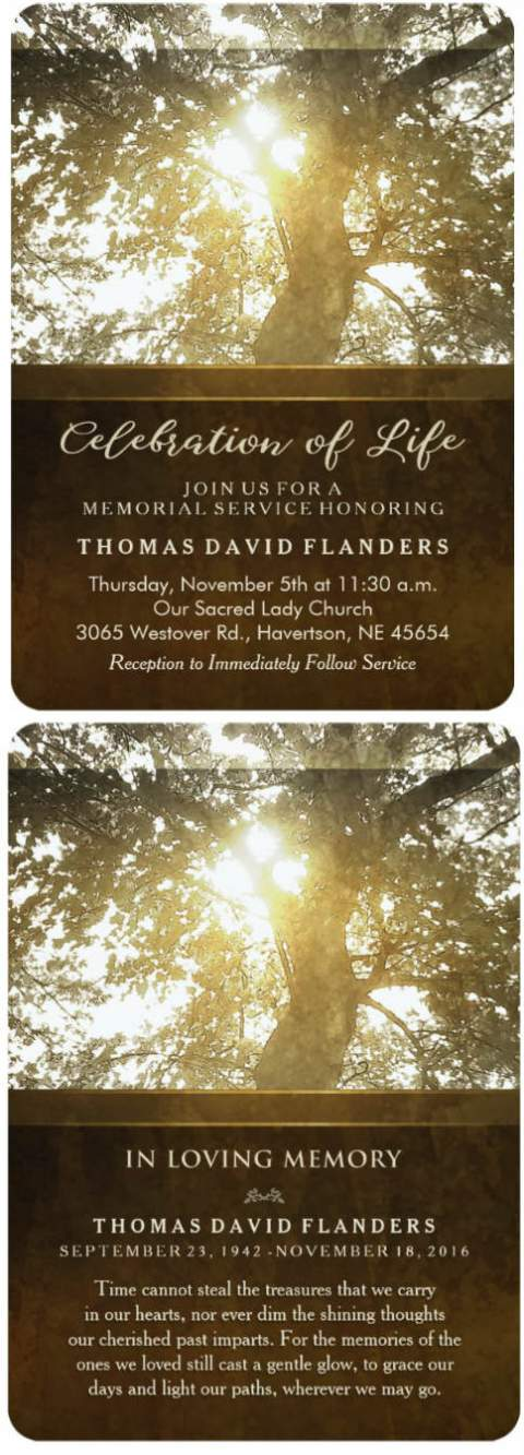 golden tree memorial invitation card front and back