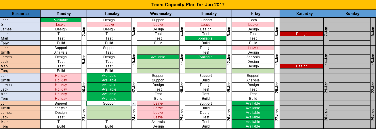 Excel team calendar template download plan monthly for Monthly task list template excel