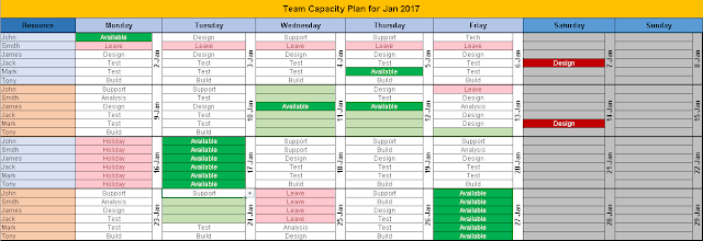 Monthly Team Task Planning Excel