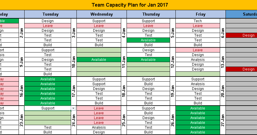 excel team calendar template download  plan monthly