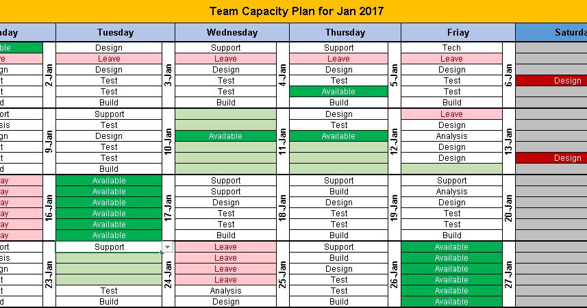 task calendar excel