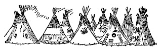 Free Native American Teepees Border Clip Art Drawing Illustrations