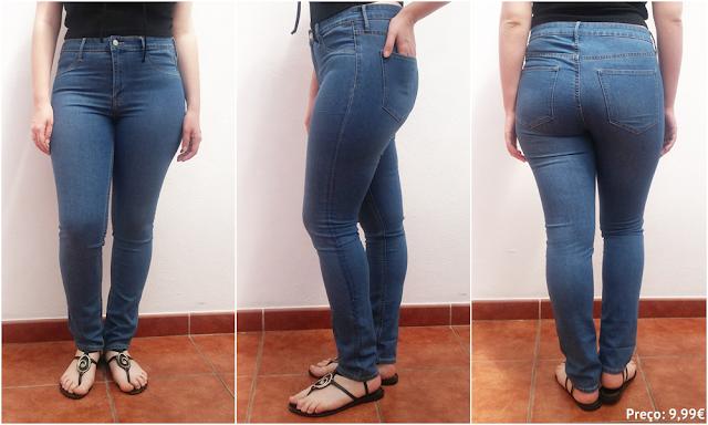 H&M: Calças de Ganga Skinny Ankle Regular Waist na cor azul.