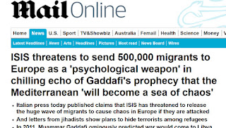 http://www.dailymail.co.uk/news/article-2958517/The-Mediterranean-sea-chaos-Gaddafi-s-chilling-prophecy-interview-ISIS-threatens-send-500-000-migrants-Europe-psychological-weapon-bombed.html
