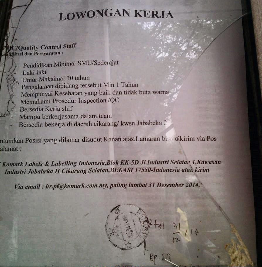 Loker Di Pt Kawasan Ejip Cikarang Lowongan Kerja Paling Baru 2016 Situs Lowongan Kerja Lowongan Kerja Pt Komark Labels And Labelling Indonesia