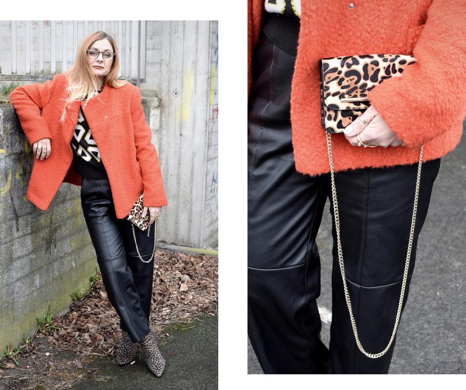 Mustermix mit Pullover mit grafischem Muster, Orange richtig stylen, Orange kombinieren