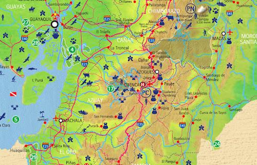 Mapa da região de Cuenca – Equador