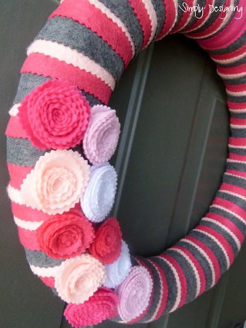 felt wreath pink grey spring 05a Simple Spring Felt Wreath 19