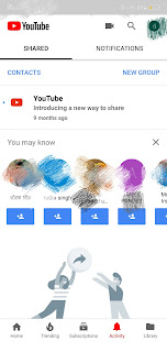 Youtube shared and notification tab