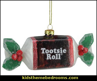 Candy Lane Tootsie Roll Original Chewy Chocolate Glass Christmas Ornament