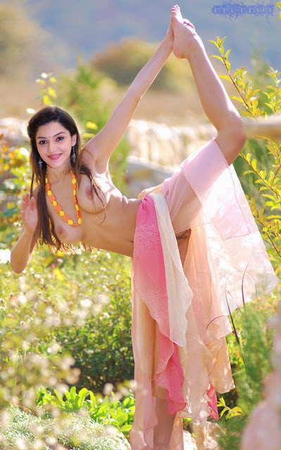 Mehrene Kaur Pirzada doing nude yoga outdoor without clothes