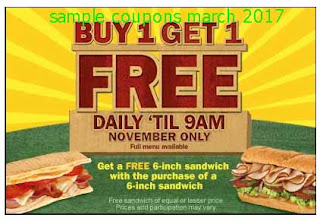 free Subway coupons for march 2017