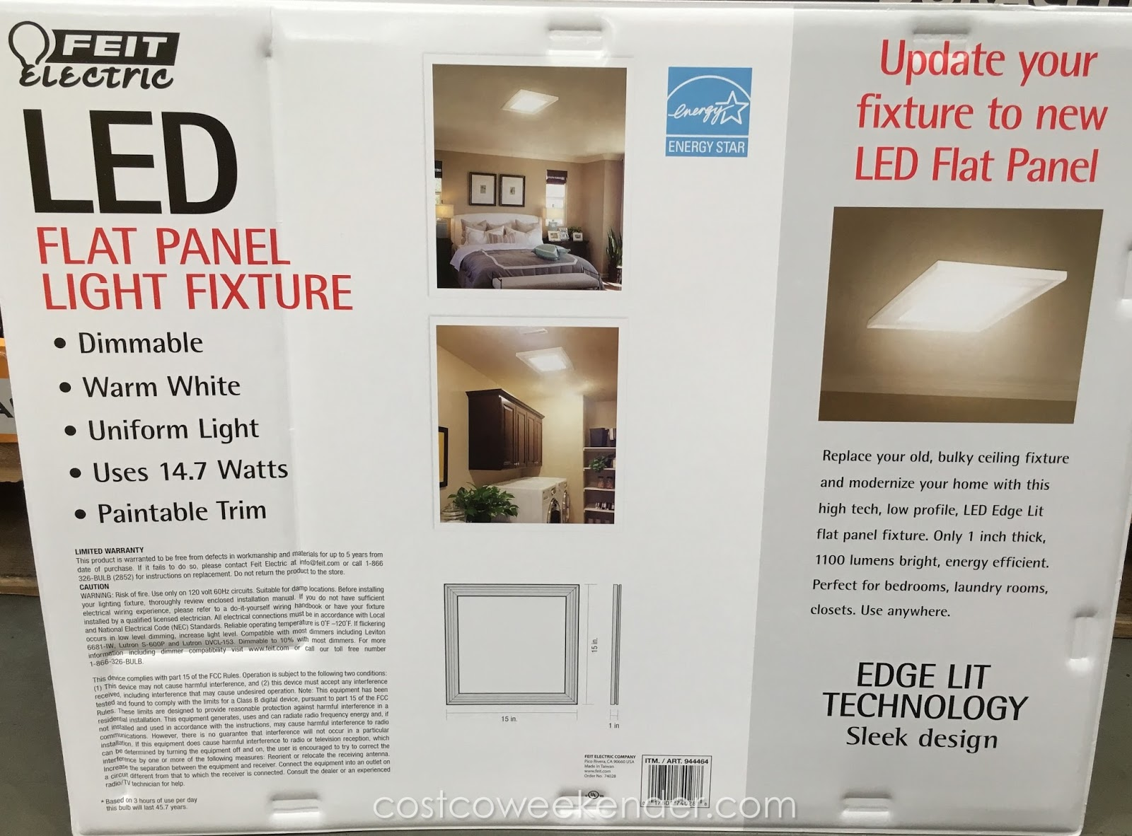 Costco 944464 Feit Led Flat Panel Light Fixture Sleek Flushmount For Your House