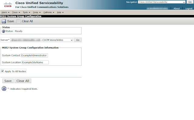 A screenshot of the MIB2 System Contact and System Location being set through the Cisco Unified Serviceability graphical interface.