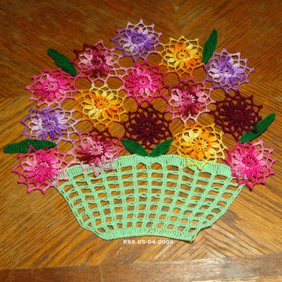 Basket of Flowers Doily - with Red and Green - Hand-Crocheted By RSS Designs In Fiber - Sold