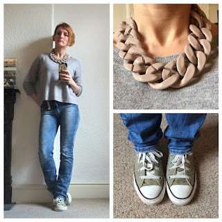 Boden knit, H&M jeans and necklace, Converse All Star trainers