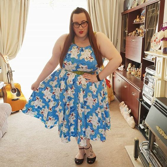 Pinup Couture Harley Dress in Mary Blair Plane Print