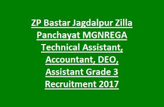 ZP Bastar Jagdalpur Zilla Panchayat MGNREGA Technical Assistant, Accountant, DEO, Assistant Grade 3 Recruitment 2017 55 Govt Jobs
